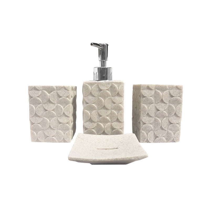 Bathroom Accessory Set 4 Pcs Cream - Local Kiwi Deals
