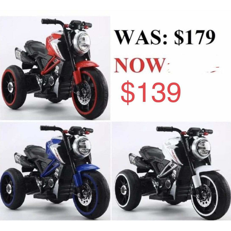 Kids Ride On Electric Bike Battery powered White Red Blue - Local Kiwi Deals