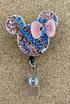 Blue and Peach Mouse Ears Badge Reel