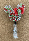 Red and Green Mouse Ears Badge Reel
