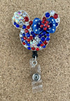 Red White & Blue Mouse Ears Badge Reel