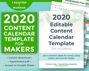 Cover page for Google Sheets calendar template for makers