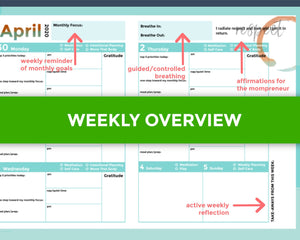 Weekly overview flat lay of Q2 printable goal planner for moms