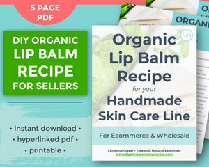 Flat lay cover page to homemade lip balm recipe for resale