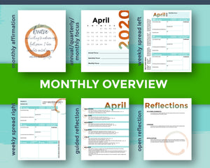 Monthly overview flat lay of Q2 printable mompreneur planner