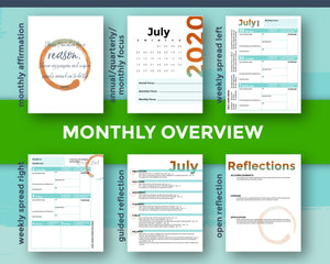Monthly Overview flat lay of Q3 mompreneur planner