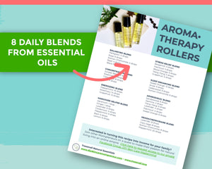 Screen shot of the eight essential oil combinations included in the pdf download