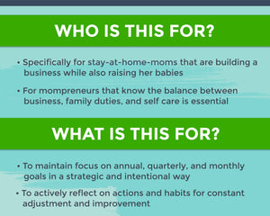 Text image explaining who the mompreneur planner is for