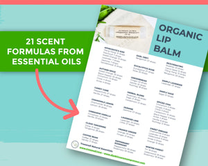 Arrow pointing to 21 scent formulas from our essential oil lip balm recipe