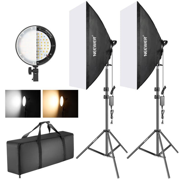 Softbox lighting kit for product photography with dual temperature lights and case