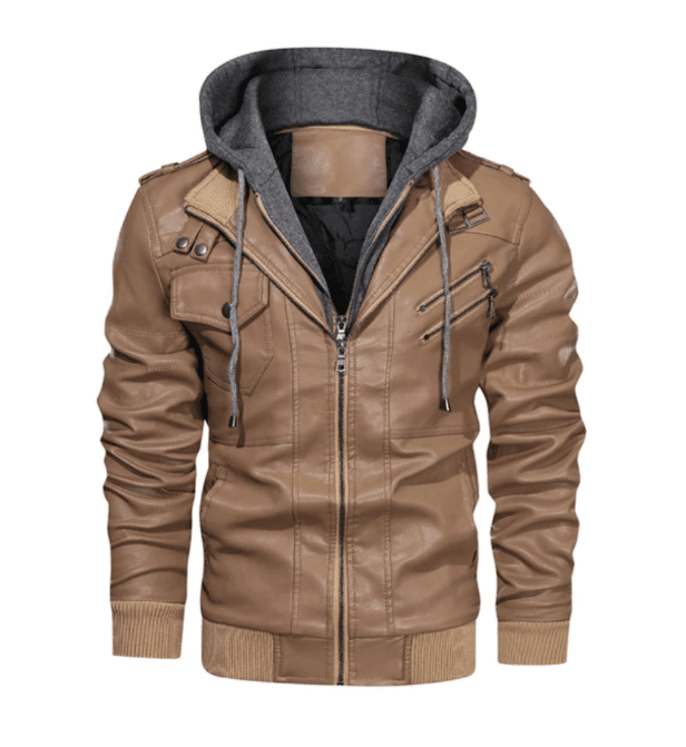 Veste Cuir synthétique Slayer automne Capuche Khaki - The Cool Mind