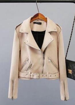 Suede Zipper Jacket Beige - The Cool Mind
