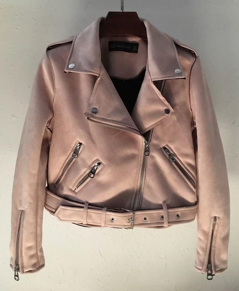 Suede Zipper Jacket Pink - The Cool Mind