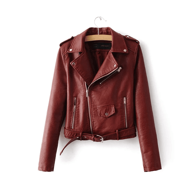 Veste Cuir Synthétique Tendance Red Wine - The Cool Mind