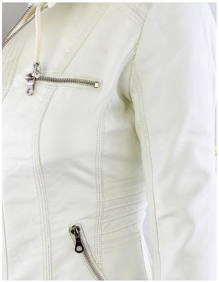 Veste Cuir Tendance Blanc - The Cool Mind