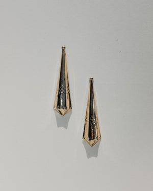 VINTAGE GOLD TAPERED BULLET CLUTCH EARRINGS