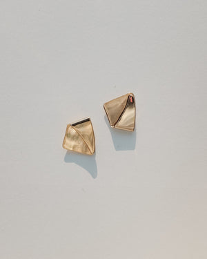 VINTAGE GOLD FOLDED BULLET CLUTCH EARRINGS