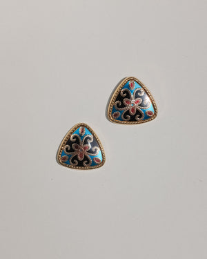 VINTAGE CLOISONNÉ STYLE BULLET CLUTCH EARRINGS