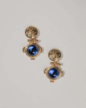 VINTAGE GOLD AND BLUE CABOCHON DROP CLIP-ON EARRINGS