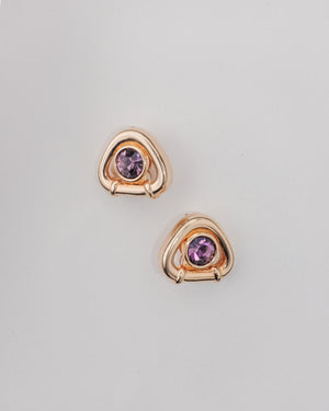 VINTAGE AMETHYST SWAROVSKI CLIP-ON EARRINGS