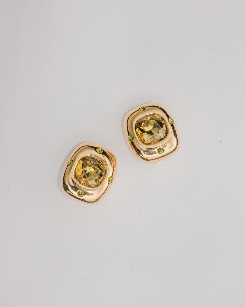 VINTAGE JOAN RIVERS GOLD AND GREEN CRYSTAL CLIP-ON EARRINGS
