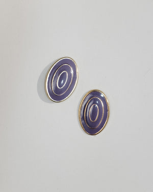 VINTAGE PURPLE OVAL BULLET CLUTCH EARRINGS