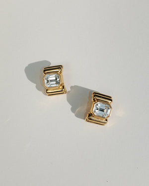 VINTAGE JOAN RIVERS GOLD AND CLEAR CYSTAL CLIP-ON EARRINGS