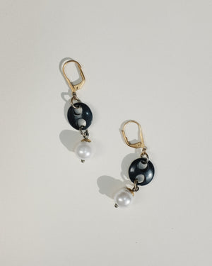VINTAGE BUTTON AND PEARL LEVER BACK EARRINGS