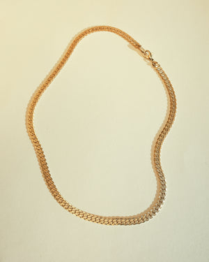 VINTAGE 14KT GOLD PLATED FLAT HERRINGBONE CHAIN NECKLACE