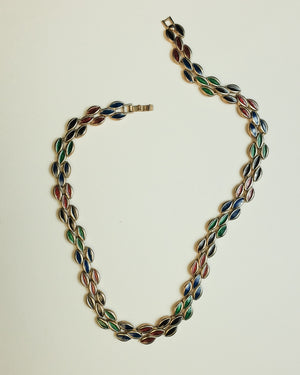 VINTAGE 1980s MULTICOLOR ENAMEL NECKLACE