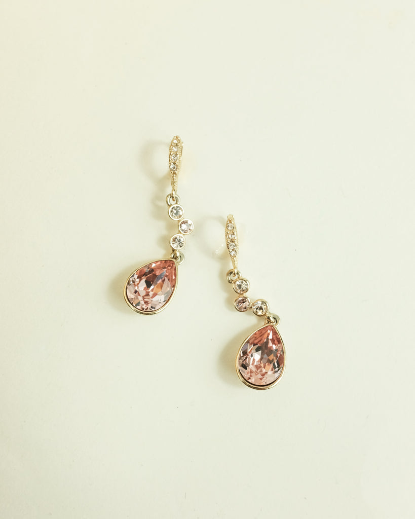 VINTAGE GIVENCHY PINK CRYSTAL TEARDROP LEVER BACK DROP EARRINGS