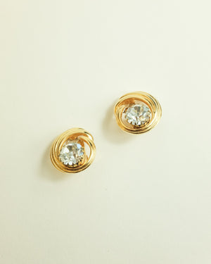 VINTAGE 1980s GOLD SWIRL AND CLEAR RHINESTONE CLIP-ON EARRINGS