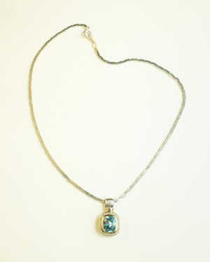 VINTAGE SILVER NECKLACE WITH BLUE STONE PENDANT