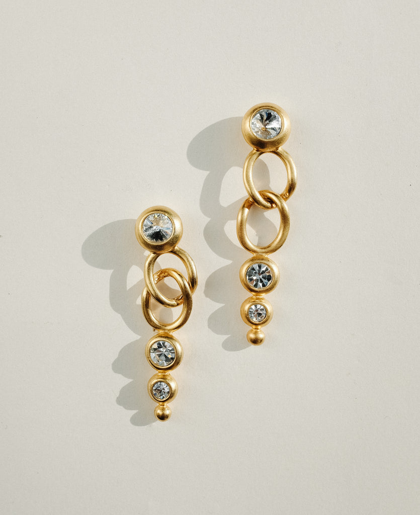 VINTAGE 1980s GOLD AND CLEAR STONES MODERNIST DROP EARRINGS