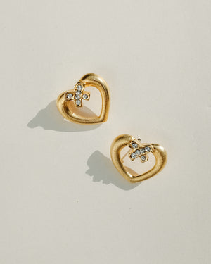 VINTAGE GOLD HEART PUSH BACK EARRINGS