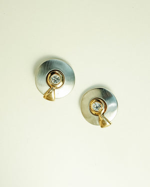 VINTAGE 1950s SILVER AND GOLD CLIP-ON EARRINGS