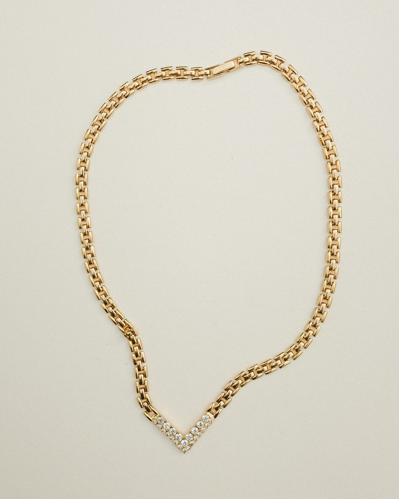 VINTAGE 1980s GOLD AND CLEAR RHINESTONE NECKLACE