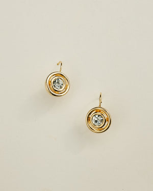 VINTAGE MINI GOLD ROUND EARRINGS WITH CLEAR STONES
