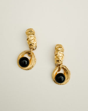 VINTAGE 1980s GOLD AND BLACK CABOCHON DROP EARRINGS