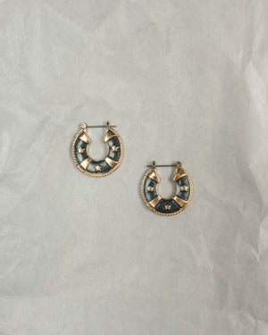 VINTAGE 1980's FLAT HOOP PADDLE BACK EARRINGS