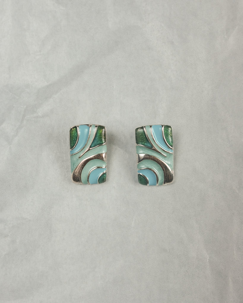VINTAGE SILVER AND BLUE SWIRL CLIP-ON EARRINGS