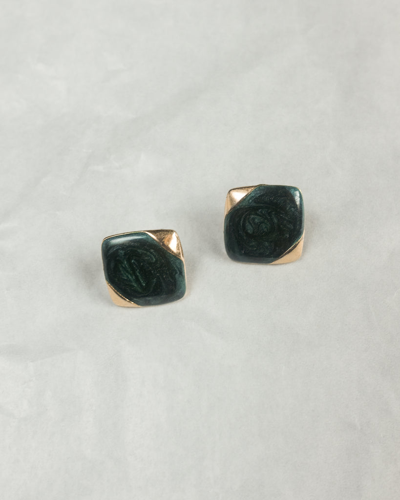 VINTAGE 1980's BLUE-GREEN AND GOLD SQUARE PUSH BACK EARRINGS