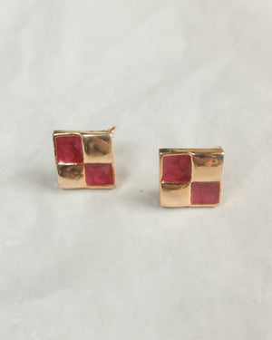 VINTAGE PINK AND GOLD CHECKERBOARD CLIP-ON EARRINGS