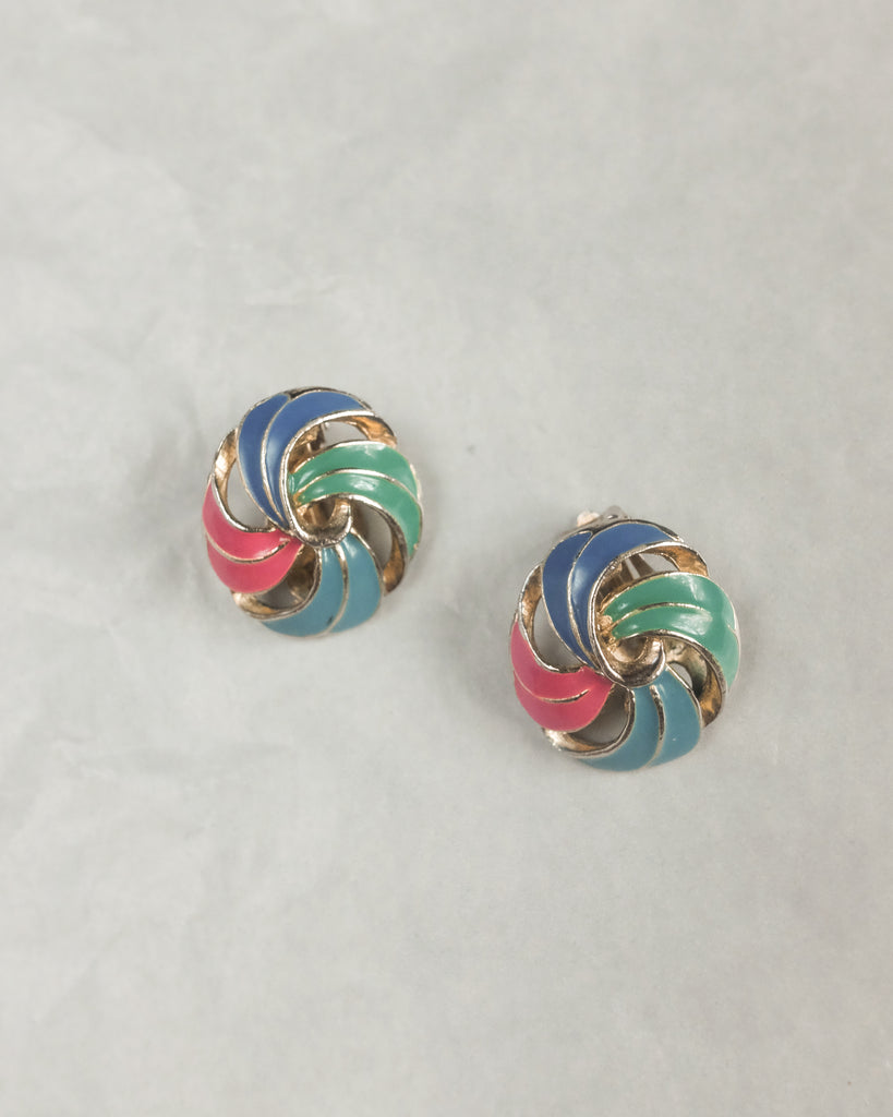 VINTAGE MULTICOLORED LACQUER SWIRL CLIP-ON EARRINGS