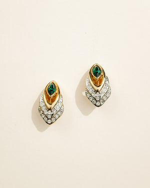 VINTAGE GOLD AND SILVER WITH EMERALD GREEN STONE CLIP-ON EARRINGS