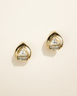 VINTAGE GOLD AND TRIANGULAR CLEAR STONE CLIP-ON EARRINGS