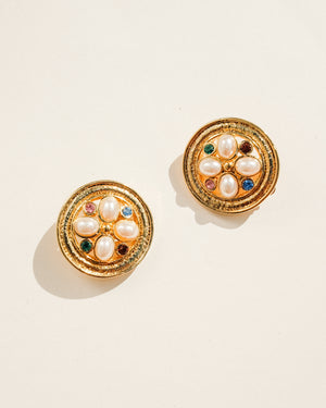 VINTAGE ROUND MULTICOLORED STONE CLIP-ON EARRINGS WITH FAUX PEARLS