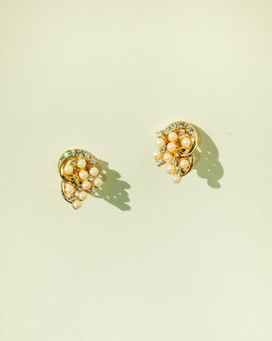 VINTAGE GOLD SPIRAL CLIP-ON EARRINGS WITH FAUX PEARLS