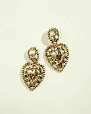 VINTAGE BRASS TONE HEART PUSHBACK EARRINGS