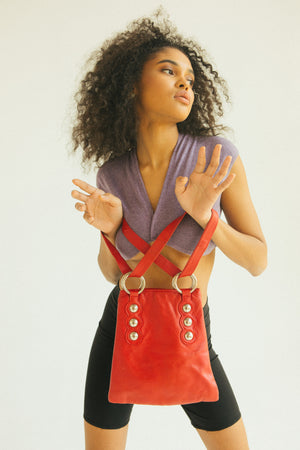 VINTAGE RED LEATHER SHOULDER BAG
